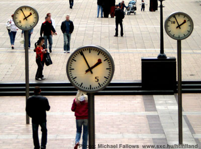 Photo of clocks, by Michael Fallows.