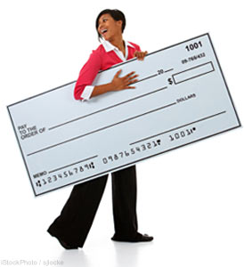 Woman with Holiday Bonus Cheque