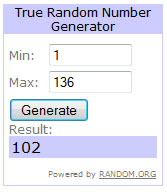 Giveaway - winner - freebie - free (photo of Random.org result)