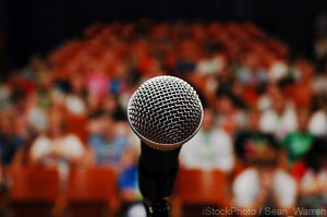 Successful entrepreneurial women learn public speaking skills.